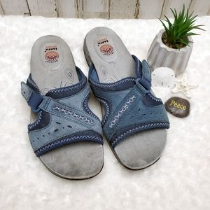 Earth Spirit Blue Velcro Leather Sandals Size 11